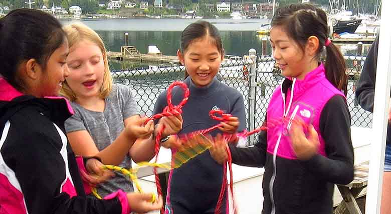 summer camp tying knots